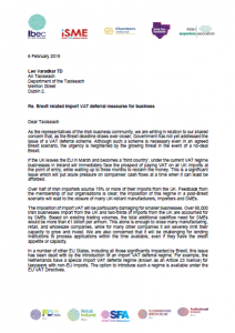 Joint industry letter to An Taoiseach on import VAT